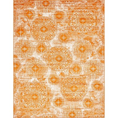 Brandt Orange Area Rug Rug Size: 9 x 12