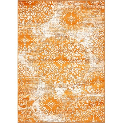 Brandt Orange Area Rug Rug Size: 4 x 6
