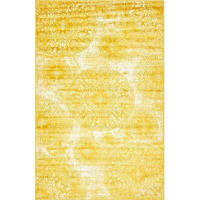 Ford Yellow Area Rug Rug Size: 5 x 8