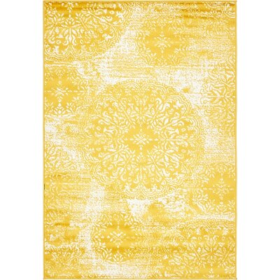 Ford Yellow Area Rug Rug Size: 4' x 6'