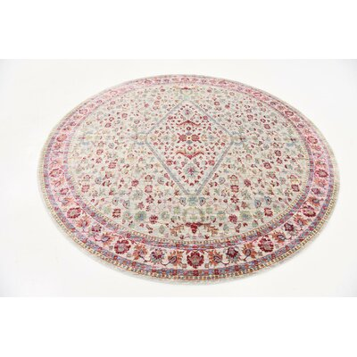Carrico Red Area Rug Rug Size: Round 8