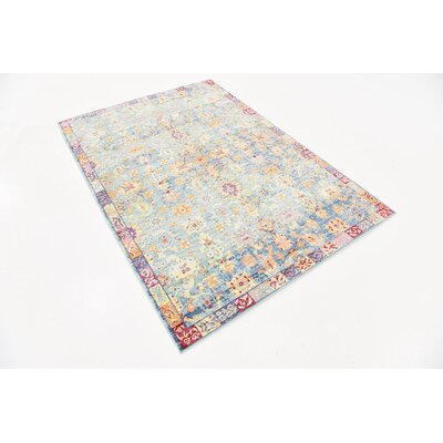 Center Blue Area Rug Rug Size: 4 x 6