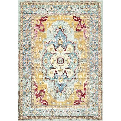 Center Light Blue Area Rug Rug Size: 4' x 6'