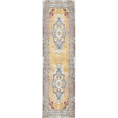 Center Light Blue Area Rug Rug Size: Runner 27 x 910