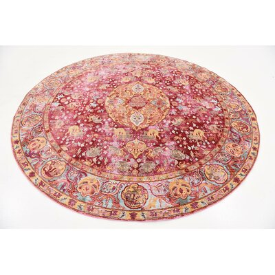 Center Red Area Rug Rug Size: Round 8'