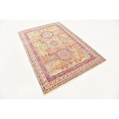 Center Yellow Area Rug Rug Size: 4 x 6