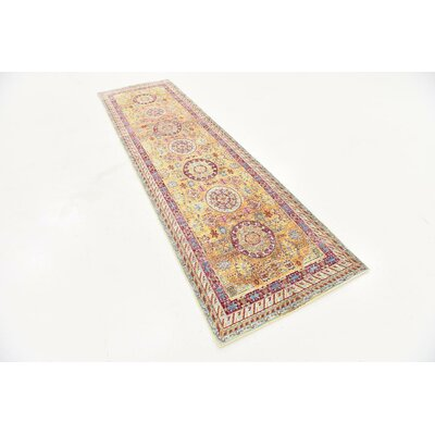 Center Yellow Area Rug Rug Size: Runner 27 x 910
