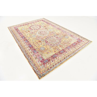 Center Yellow Area Rug Rug Size: 6 x 9