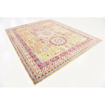 Center Yellow Area Rug Rug Size: 8 x 10