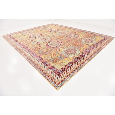 Center Yellow Area Rug Rug Size: 13 x 165