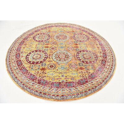 Center Yellow Area Rug Rug Size: Round 8