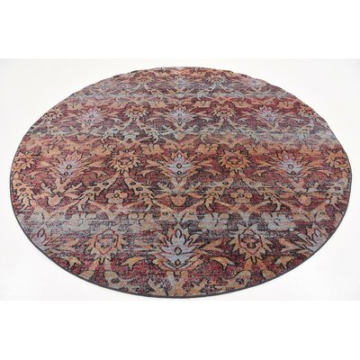 Clemon Rust Red Area Rug Rug Size: Round 8