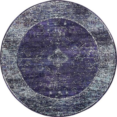 Bently Blue Area Rug Rug Size: Round 8