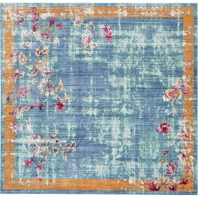 Center Blue Area Rug Rug Size: Square 8