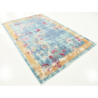 Center Blue Area Rug Rug Size: Rectangle 5 x 8