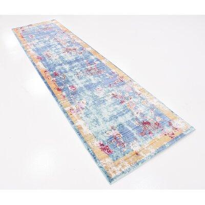 Center Blue Area Rug Rug Size: Runner 27 x 910