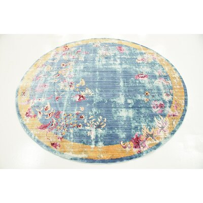 Center Blue Area Rug Rug Size: Round 6'