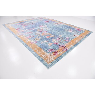 Center Blue Area Rug Rug Size: Rectangle 10 x 13