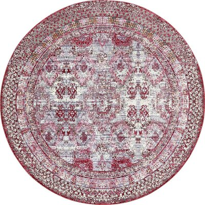 Center Red Area Rug Rug Size: Round 8