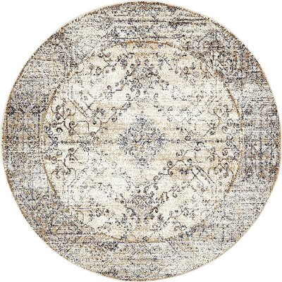 Bently Cream Area Rug Rug Size: Round 5