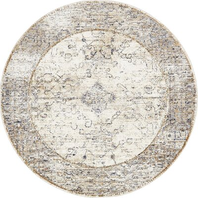 Bently Cream Area Rug Rug Size: Round 8