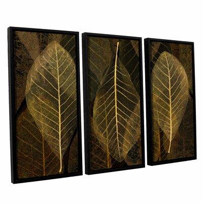 Leaf Gold 3 Piece Framed Graphic Art Set Size: 24