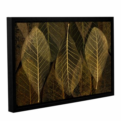 Leaf Gold Framed Graphic Art on Wrapped Canvas Size: 12