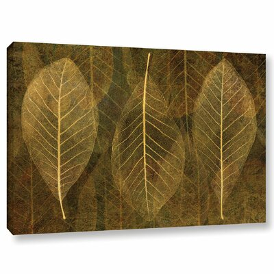 Leaf Gold 4 Graphic Art on Wrapped Canvas Size: 12