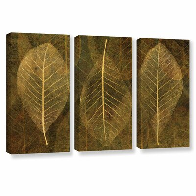 Leaf Gold 4 3 Piece Graphic Art on Wrapped Canvas Set Size: 24