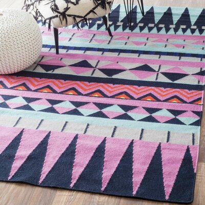 Simonds Flat Woven Pink/Black/Blue Area Rug Rug Size: Rectangle 4 x 6