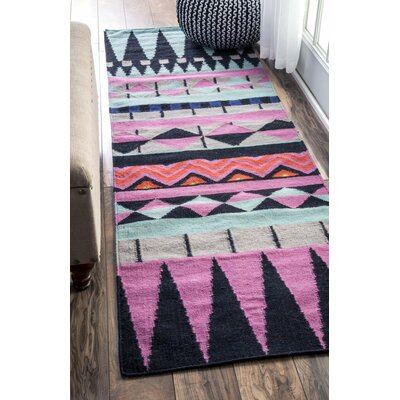 Simonds Flat Woven Pink/Black/Blue Area Rug Rug Size: Runner 26 x 8