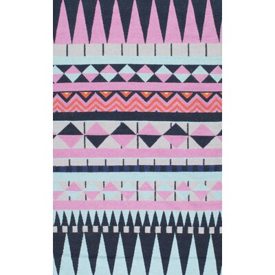 Zita Flat Woven Pink/Black/Blue Area Rug Rug Size: 5 x 8