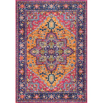 Paloma Purple/Pink/Orange Area Rug Rug Size: 4 x 6