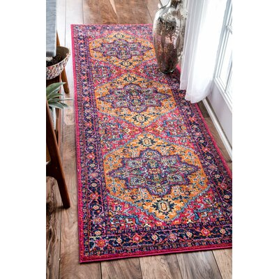 "Paloma Purple/Pink/Orange Area Rug Rug Size: Runner 2'8"" x 8' BNGL8368 33338181"