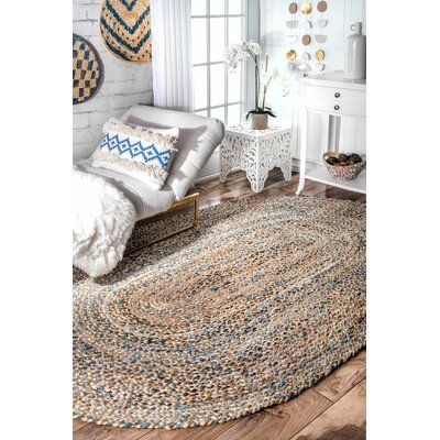Destrie H-Braided Blue Area Rug Rug Size: Oval 5 x 8