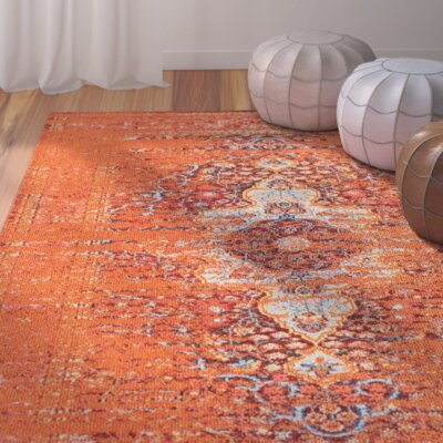 Estrel Orange Area Rug Rug Size: 53 x 77
