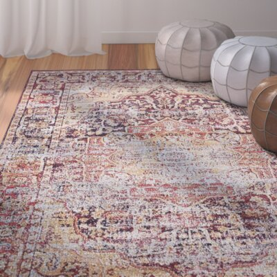 Koury Beige/Red Area Rug Rug Size: 7 x 10