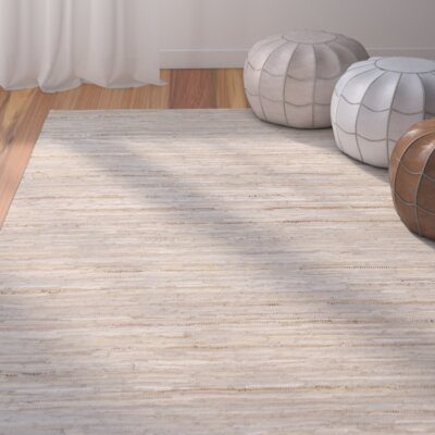 Hali Hand-Woven Khaki Area Rug Rug size: Rectangle 33 x 53