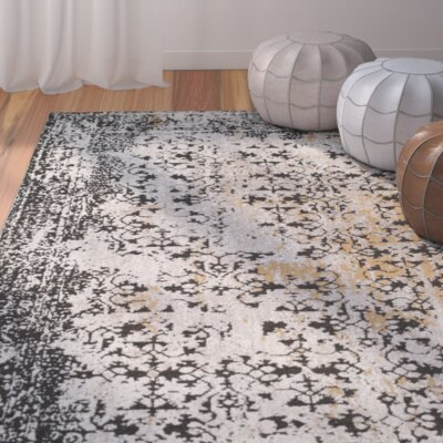 Maissa Black/Silver Area Rug Rug Size: Rectangle 5 x 8