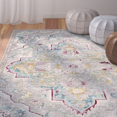 Lulu Floral Gray/Light Blue Area Rug Rug Size: Square 67 x 67