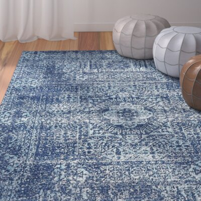 Cristian Navy Blue Area Rug Rug Size: Rectangle 8 x 10