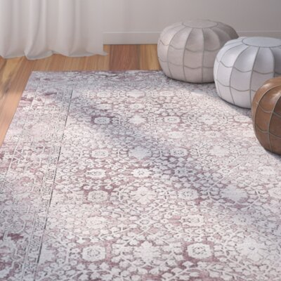Jerry Rose/Beige Area Rug Rug Size: 51 x 76