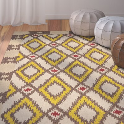Puri Beige/Yellow Outdoor Area Rug Rug Size: Round 4