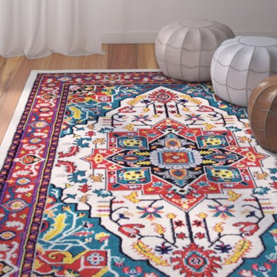 Rahal Medallion Red Area Rug Rug Size: Rectangle 5 x 8