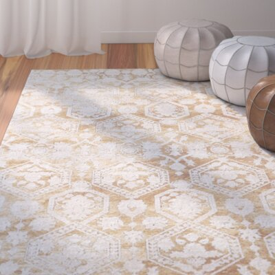 Bray Traditional Gold/Beige Area Rug Rug Size: 9 x 12