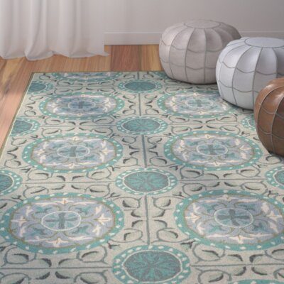 Puri Mint/Aqua Outdoor Area Rug Rug Size: 6 x 9