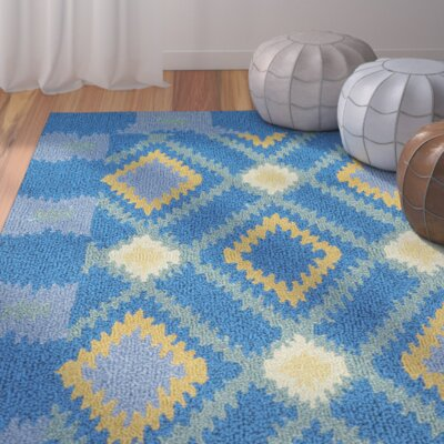 Puri Indigo/Yellow Indoor/Outdoor Area Rug Rug Size: Round 4