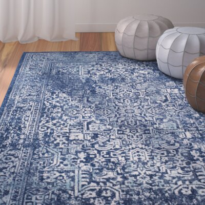 Elson Navy/Ivory Area Rug Rug Size: Rectangle 10 x 14