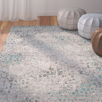 Shubhada Gray/Light Blue Area Rug Rug Size: Round 6'7