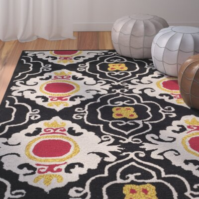 Puri Black/Orange Outdoor Area Rug Rug Size: Round 6
